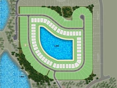 Landscape master plan 2d color rendering