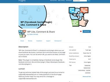 WordPress plugin for facebook like, comment and share