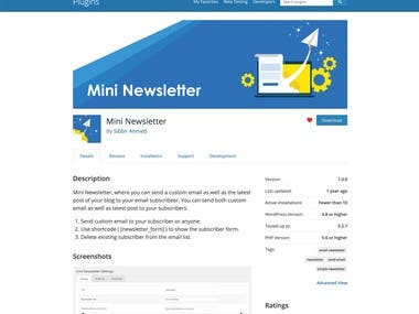 WordPress plugin for sending newsletter
