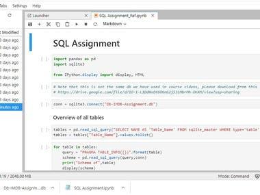 JupyterLab IMDB SQL Assigmnent Answer Query