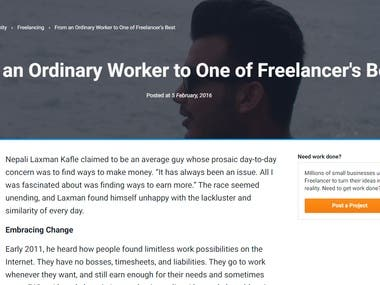 Featured as Freelancer's Best.