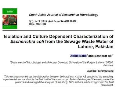 Isolation and Culture Dependent Characterization of Escheric