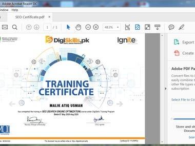 SEO Expert Certificate
