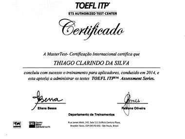 TOEFL Proctor Certificate