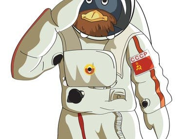 Beardy Penguin Astronaut Version
