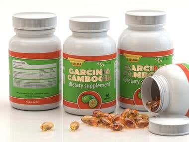 3D rendering of Garcinia bottles and capsules