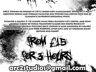 B&W Flyer for Arc Studios, Glasgow