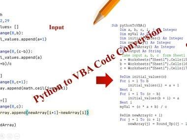 Python to VBA Code Conversion