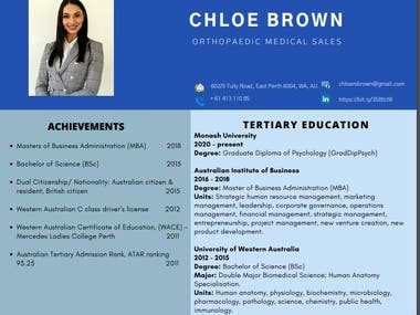 CHLOE BROWN CV/RESUME