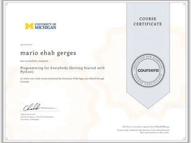 some certificate i had taken in python and MySQL