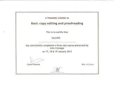 Certificate in Editing and Proofreading