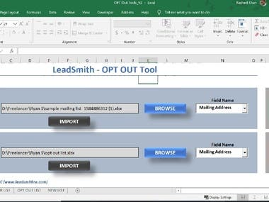 Opt out tools (2 Data list comparision tools)