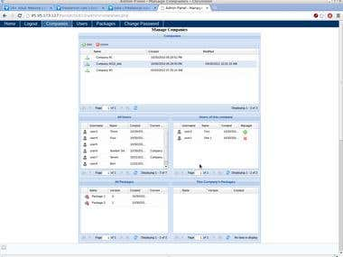 Admin panel with rich user interface