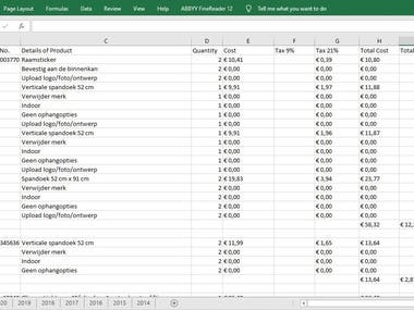 Update pdf invoices in excel