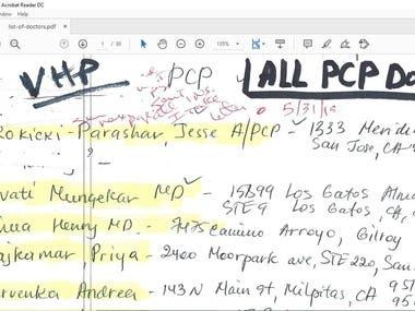 Updating of Handwritten address in excel