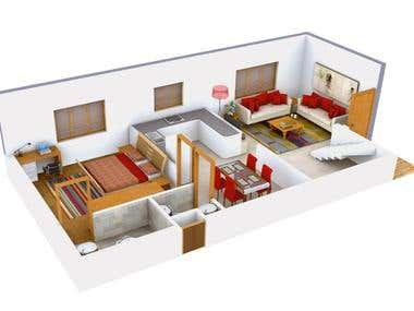 3D Rendered View of House Floor Plan
