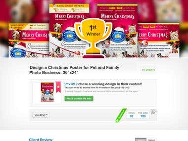 Design a Christmas Poster for Pet and Family Photo Business