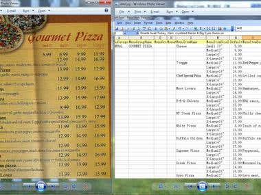 Data Extraction from scanned restaurant menu