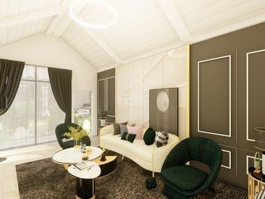 Living room on roof interior design in KSA