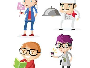 flat design characters