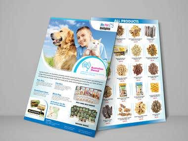 Flyer for Pet dog Treats delights.