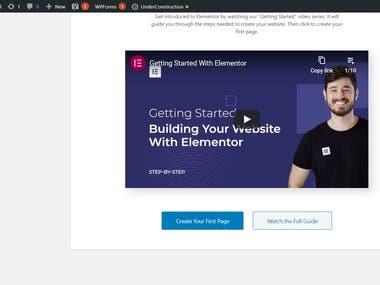 Wordpress Website Buildup with Elementor