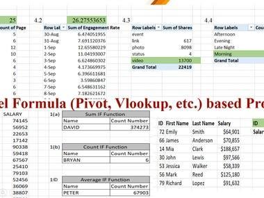 Excel Formula Based Project