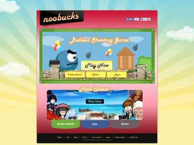 Facebook Game Application landing Page