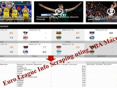 Euro League Information Scraping using VBA