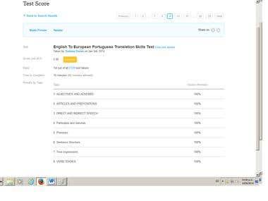 English to European Portuguese Test
