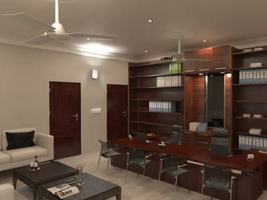 Interior 3D renderings of an office