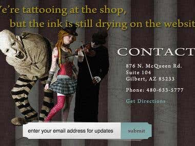 Landing Page/Coming Soon Page for Tattoo Parlor