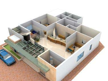3d Office Interior and Exterior