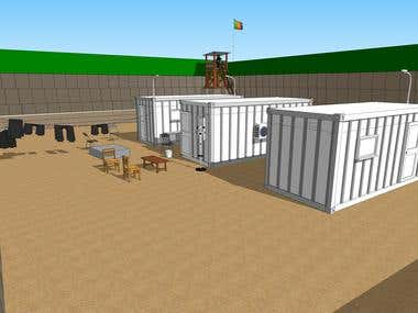 3D Model Military Compound