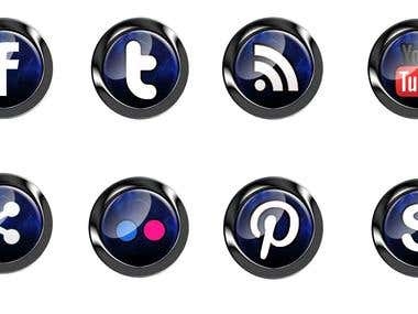 Glowing Social Media Icons