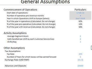 Assumptions used in a financial model