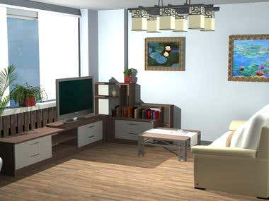 Living room render 3D Studio max and AutoCAD