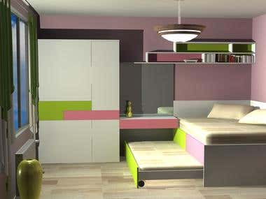 Bedroom render 3D Studio Max and AutoCAD
