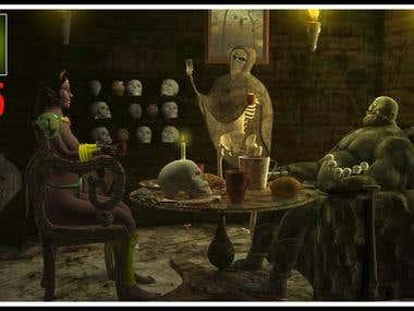 Monster party scene...