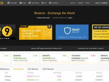 Crypto exchange website
