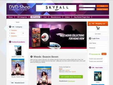 Online Joomla rental shop for DVDs