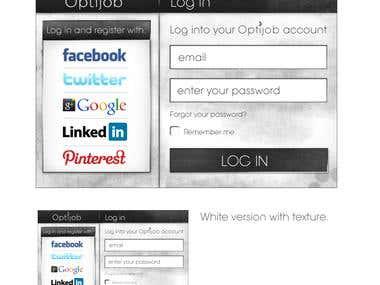Log in screen for Optijob