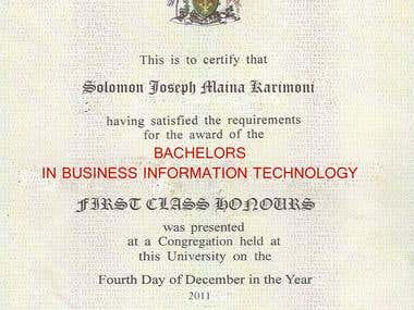 A degree's Certificate
