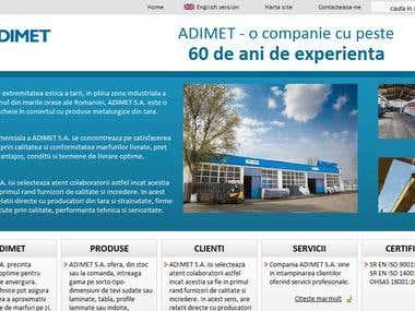 CMS-enabled presentation website: Adimet