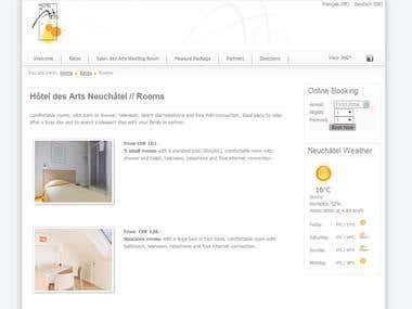 Hotel des Arts Neuchatel Website