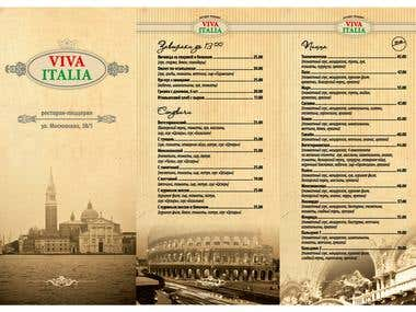 Restaurant «Viva Italia» menus and NY offer.
