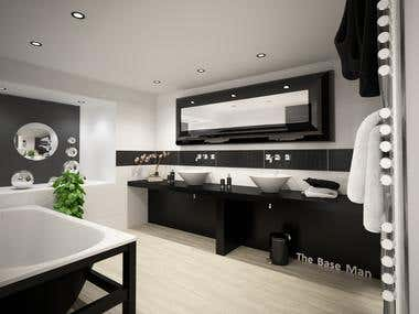 Bathroom interior, private residence, Long Beach, CA-USA