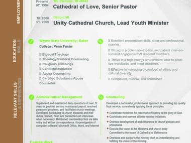 Pastor Resume Design