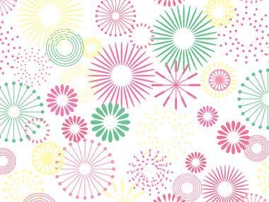 Illustrator - Retro Floral Artwork For Fabric Rotary Printin