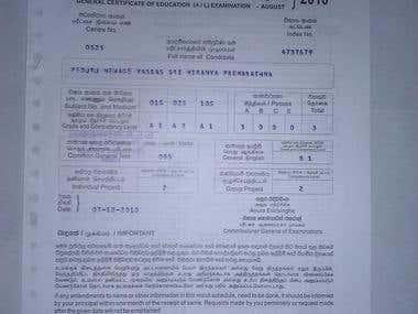 A/L certificate